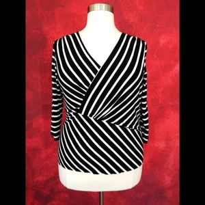 Vince Camuto Black White Striped Wrap Top 1X